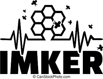 Beekeeper heartbeat line with job title german