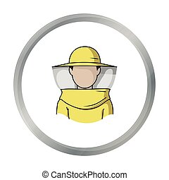 Beekeeper icon in cartoon style isolated on white background. Apiary symbol stock vector illustration
