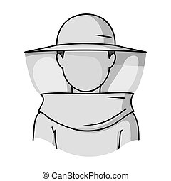 Beekeeper icon in monochrome style isolated on white background. Apiary symbol stock vector illustration