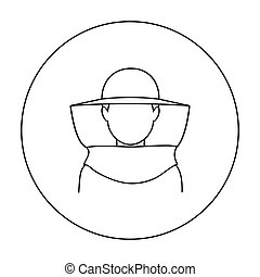 Beekeeper icon in outline style isolated on white background. Apiary symbol stock vector illustration