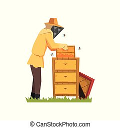 Beekeeper in a protective suit working on apiary, honey production process vector Illustration on a white background
