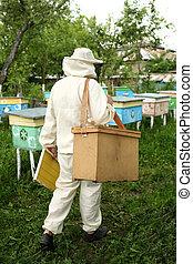 beekeeper in protective suit