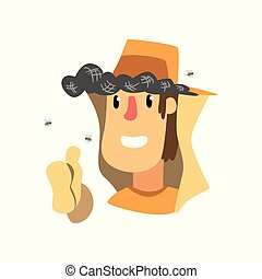 Beekeeper man in protective clothes, apiary and beekeeping vector Illustration on a white background