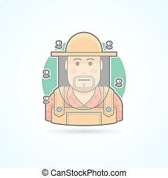 Beekeeper surrounded by bees, man in a bee protective veil icon. Avatar and person illustration. Flat colored outlined style.