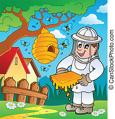 Beekeeper with hive and bees - vector illustration.