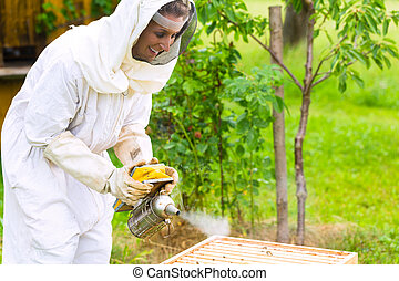 Beekeeper with smoker controlling beeyard and bees