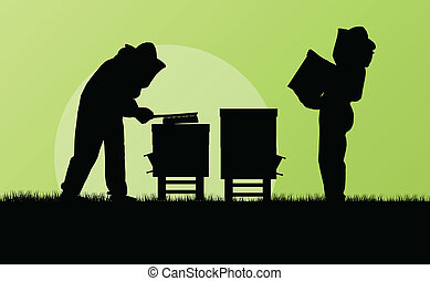 Beekeeper working in apiary vector background for poster
