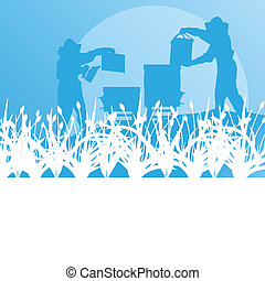 Beekeeper working in apiary vector background landscape