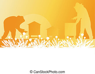 Beekeeper working in apiary vector background landscape for ...