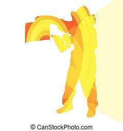 Beekeeper working silhouette illustration vbackground ...
