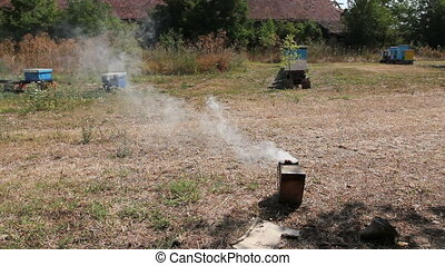 Beekeeper's smoking pot with smoke, open on the ground