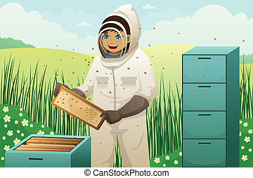 Beekeepers with honey comb - A vector illustration of...