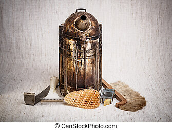 Beekeeping equipment on canvas background