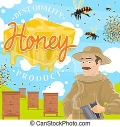 Beekeeping farm poster with beekeeper at apiary