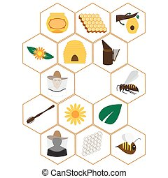 beekeeping icons set