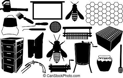 beekeeping set isolated on white