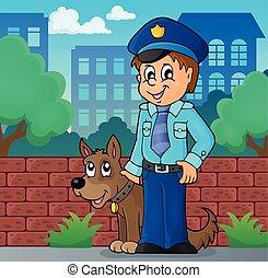 beeld, 2, dog, conducteur, politieagent