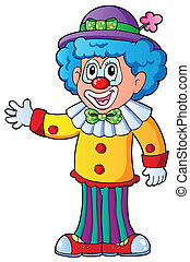 beeld, 2, spotprent, clown