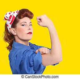beeld, arbeider, iconic, fabriek, 1950, vrouwlijk, tijdperk