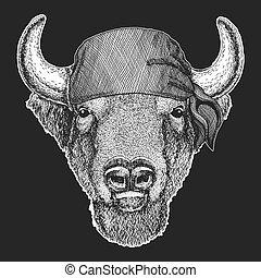 beeld, badge, bizon, embleem, t-shirt, zeeman, tatoeëren, patch., fietser, seawolf, dier, logo, bandana, os, motorfiets, zeeman, koel, buffel, stier, zeerover