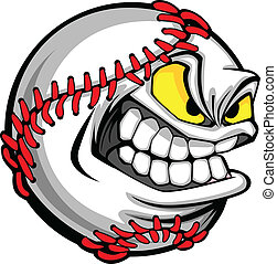 beeld, bal, honkbal, spotprent, gezicht
