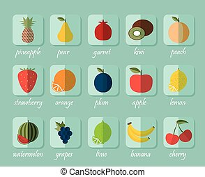 beeld, besjes, symbool, vruchten, fruit, icon.