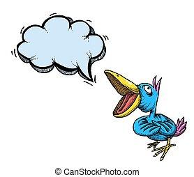 beeld, bird-100, het zingen, spotprent