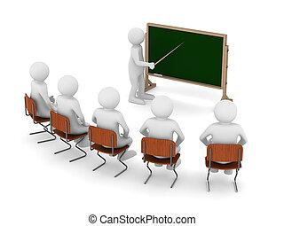 beeld, blackboard., vrijstaand, wijzer, leraar, 3d