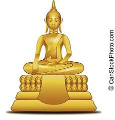 beeld, boeddha, stijl, vector, gouden