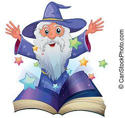 beeld, boek, bejaarde, sterretjes, velen