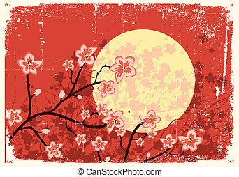 beeld, boom., grunge, sakura, vloeiend