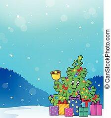 beeld, boompje, kadootjes, thema, 5, kerstmis