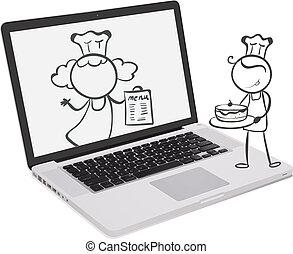 beeld, chef-koks, draagbare computer