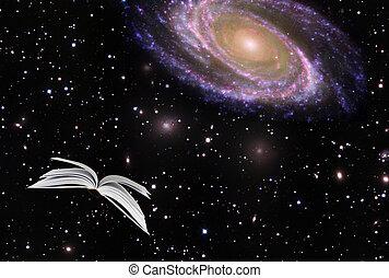 beeld, communie, boek, nasa, cosmos., gemeubileerd, vliegen...
