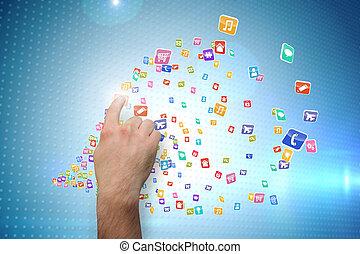 beeld, composiet, het richten van de hand