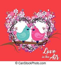 beeld, dag, liefde, blauwe , vogels, valentijn, vector, roze, lucht