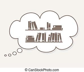 beeld, denken, over, vector, boekjes