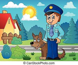beeld, dog, 3, conducteur, politieagent