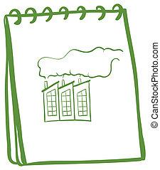 beeld, fabriek, aantekenboekje, groene