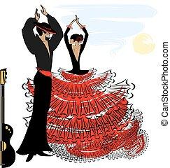 beeld, flamenco, paar, abstract