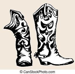 beeld, grafisch, .vector, laarzen, cowboy