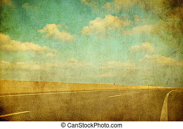 beeld, grunge, snelweg