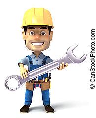 beeld, handyman, moersleutel, vasthouden, 3d