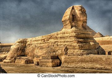 beeld, hdr, sphinx, egypt., giza.