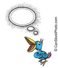 beeld, het zingen vogel, spotprent