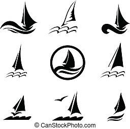 beeld, jachtboten, iconen