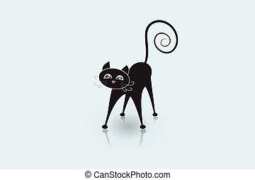 beeld, kat, vector, logo, identiteitskaart