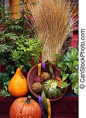 beeld, kleur, versiering, versiering, oranje pompoen