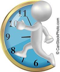beeld, klok, rooster, tegen, gebruiken, gradient., man, vector, rennende , getrokken, symbool, hardloop