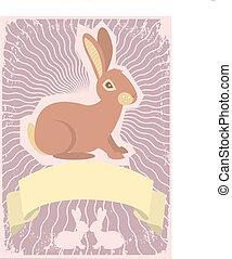 beeld, konijn, tekst, boekrol, vector, grafisch, achtergrond.